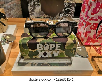 Selangor, Malaysia- November, 2018: Bape sunglasses store in shopping mall .A Bathing Ape (BAPE) is a Japanese clothing company founded by Nigo in 1993, specializes in lifestyle and street wear.