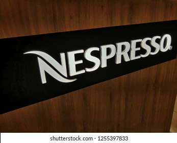 Selangor, Malaysia - November 2018: Nespresso logo on a store. Nespresso is the brand name of Nestle Nespresso., an operating unit of the Nestle Group, based in Lausanne, Switzerland