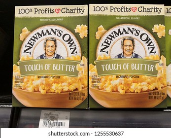 Selangor, Malaysia - November 2018: Newman's Own popcorn product brand display for sale in supermarket.Newman's Own is a food company founded by the late actor Paul Newman in 1982.
