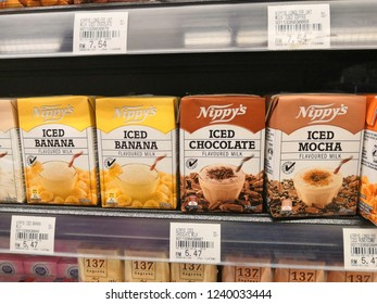 Selangor, Malaysia - November 2018: Nippy's iced chocolate drinks display in supermarket shelf. Nippy's Pty Ltd is a 100% South Australian family owned company