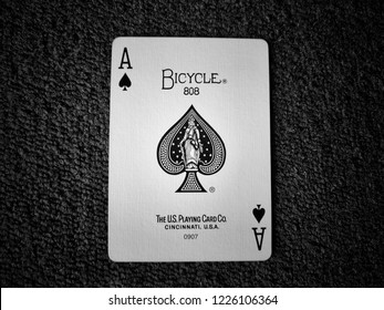 Selangor, Malaysia- November 2018: Playing cards on the table. Monochrome image. TheUnited States Playing Card Company established in 1867 asRussell, Morgan & Co is distributor ofplaying cards.