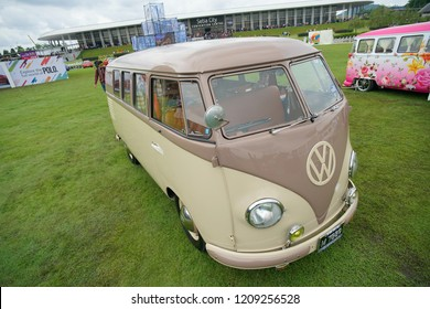 Selangor, Malaysia - Oct 13 2018 : Vintage VW microbus/kombi van parked for a exhibition on the field at Volkwagen Fest 2018. Volkswagen is a German automobile manufacturing group based in Wolfsburg.