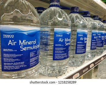 Selangor, Malaysia - October, 2018: Product of Tesco, the 5 litres mineral waters on the supermarket shelves.