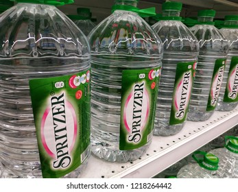 Selangor, Malaysia - October, 2018: The Spritzer 5 litres packaging mineral waters sold at the supermarket.