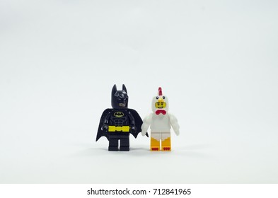 selangor malaysia, sept 10, 2017. Lego batman and chicken suit guy.  Lego is a brick brand by Lego group.