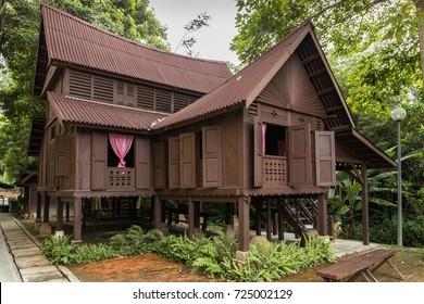 Selangor, Malaysia - September 29, 2017 : Malay Heritage Museum aka Muzium Warisan Melayu at Serdang, Selangor featuring the Negeri Sembilan traditional Malay wooden house.