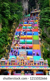 Selangor, Malaysia-October 18, 2018 : Batu Caves is a an iconic and popular tourist attraction in Selangor. Site of a Hindu temple and shrine, Batu Caves attracts thousands of worshippers and tourists