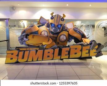 Selangor, Malaysia– November , 2018:  Big signboard of Movie Bumblebee displays at the Oneutama shopping centre, Selangor Malaysia.