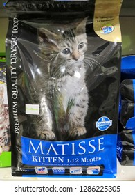 Selangor,Malaysia - January 2019 : Farmina Matisse Cat food display for sale in pet shop. Farmina Pet Foodsis an italian company involved in animal nutrition for over 50 years.