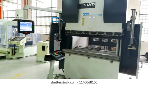 SELANGOR,MALAYSIA- JULY 22,2018: A press brake machine in a modern factory. This machine produced by LVD group. LVD is a belgium based company and was establish since  1950.
