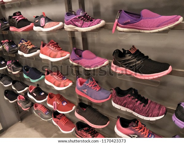 Running Shoes Display Stock Photo
