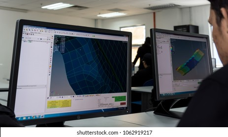 SELANGOR,MALAYSIA-MARCH 8,2018: A college students are designing and doing analysis in CAD software. Working on their project assignment in lab design near Bangi,Selangor. Shot taken on March 8,2018.