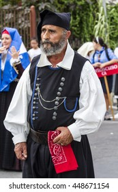 SELARGIUS, ITALY - 2015 September 13: Former marriage Selargino - Sardinia - portrait of a man in traditional Sardinian costume