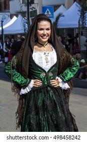 SELARGIUS, ITALY - September 11, 2016: Former marriage Selargino - Sardinia - portrait of a beautiful girl in traditional Sardinian costume