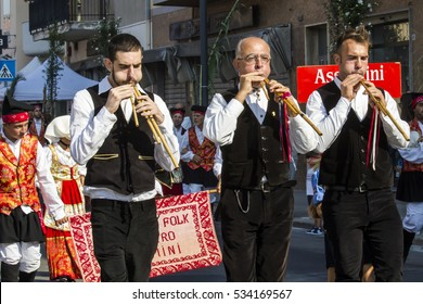SELARGIUS, ITALY - September 11, 2016: Former marriage Selargino - Sardinia - launeddas musicians parading in traditional Sardinian costume
