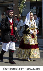SELARGIUS, ITALY - SEPTEMBER 11, 2016: Ancient Marriage  Selargino -  Parade of a couple in traditional Sardinian costume - Sardinia