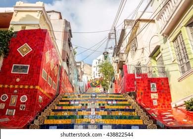 Selaron Steps Colorful Staircase in Rio de Janeiro, Brazil