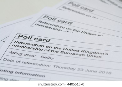 SELBY, UK - JUNE 21, 2016. Poll cards in readiness for Great Britain's vote on whether or not it should stay a part of the European Union.