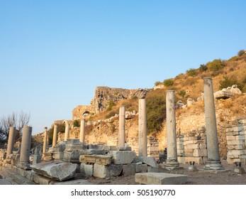Selcuk, Izmir, Turkey - September 13, 2016: Pillars Ephesus the UNESCO World Heritage Site.