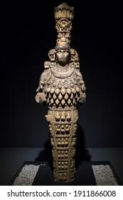Selcuk, Turkey - November 6, 2020: Statue of Artemis in the archaeological museum of Ephesus in Selcuk, Turkey.