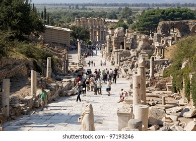SELCUK, TURKEY - SEP 18: Tourists visit ruins of Ephesus, an ancient major Roman city on Sept 18, 2011 in Selcuk, Turkey.