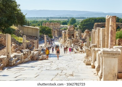 SELCUK/TURKEY - MAY 31, 2013: Curetes Street in the ancient Ephesus city in Turkey