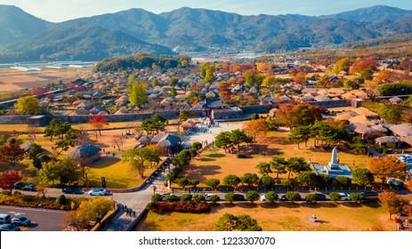 Select focus of Jeonju hanok village during autumn season in Jeonju, South Korea.