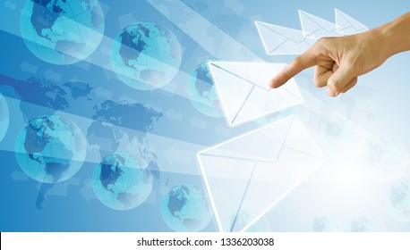 Select and point to email, Technology concept