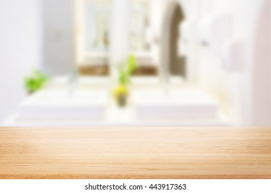 Selected focus empty brown wooden table  for product display montage bathroom and desk.
