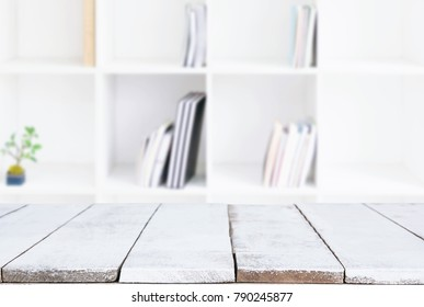 Selected focus empty old wooden table and 