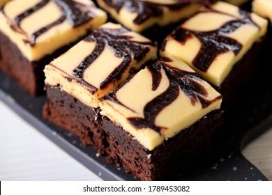 Selected Focus Homemade Cream Cheese Brownies with Beatiful Swirl Motif on Top