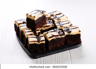 Selected Focus Homemade Cream Cheese Brownies with Beatiful Swirl Motifs on Top