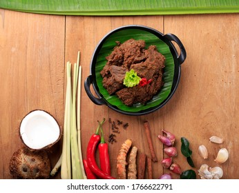 Selected Focus Rendang or Randang is The Most Delicious Food in the World. Made from Beef Stew and Coconut Milk with Various Herbs and Spice. Typically food from Minang Tribe, West Sumatera, Indonesia