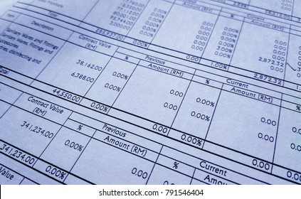 Selected focused of financial account report sheet with the figure is in Malaysian currency.