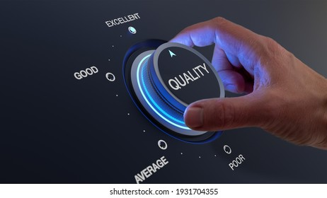 Selecting excellent quality to increase customer satisfaction. Quality assurance management and control for products or services. Concept with QA manager's hand turning knob.