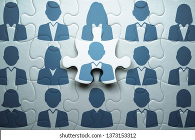 Selecting person and building team. Human resource management and teamwork concept.