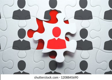 Selecting right people for organization's success. Think different and unique concept. 