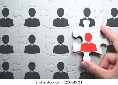 Selecting right people for organization's success. Human resource management and selecting leader concept. 