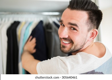 Selecting wardrobe in a good boutique
