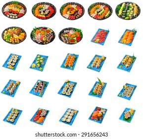 selection of 25 Japanese sushi dish collage isolated over white frame