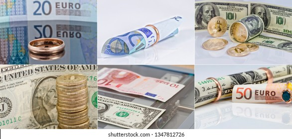 A selection of 6 photos in good resolution on the theme of money, currency and buying gold jewelry