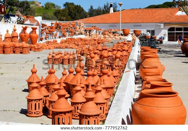 Selection Algarve Terracotta Pottery Chimneys Pots Stock