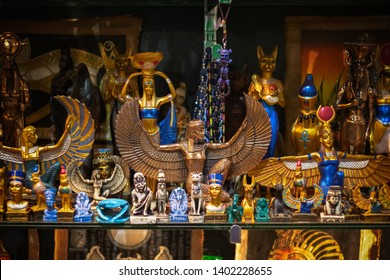 Selection of ancient Egyptian decorative figures on display at Camden market in London