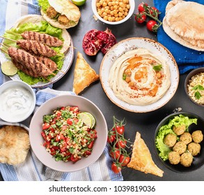 Selection of arabic food. Middle eastern cuisine. Halal food. Top view