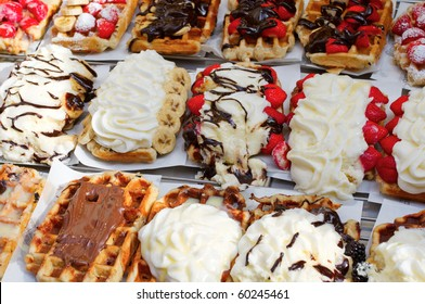 Selection of Belgian Waffles in Brussels