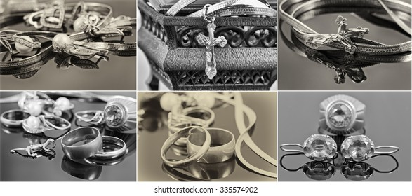 selection of black-and-white photographs of gold and silver jewelry