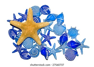 A selection of blue bathroom decorations with a dried star fish, isolated on white