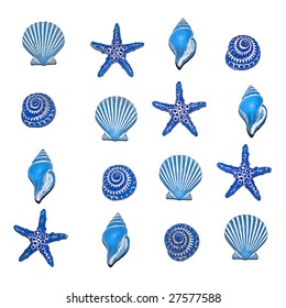 A selection of blue sea shell bathroom decorations in a repeatable square pattern, isolated on white.