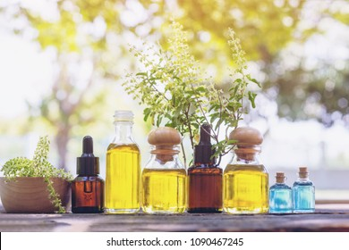 Selection Bottle of essential oils, with herbs and flowers  in wooden box on table outdoors. Herbal medicine.