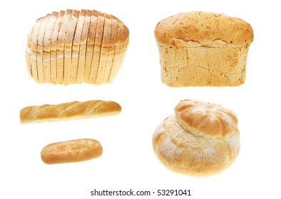 Selection of bread loaves and rolls